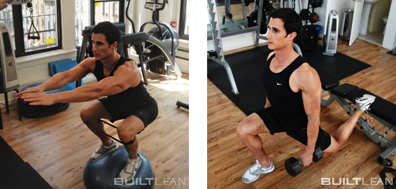 Squat On Bosu Ball Or Balance Board And Bulgarian Split