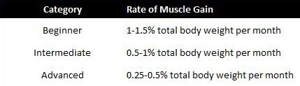 How Fast Can You Build Muscle Chart #2: The Alan Aragon Model