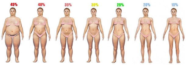 Body Fat Percentage Woman Comparison